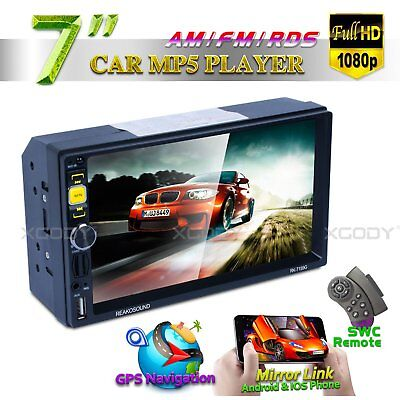 """7"""" Car Stereo Radio MP5 Player 1080P 2 DIN Bluetooth HD Touch Screen Navigation"""