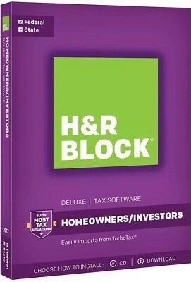 H&r Block Tax Software 2017 Deluxe Federal+State Brand New Factory Sealed Retail