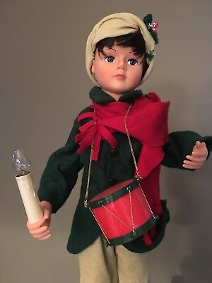 """24"""" Animated and Illuminated Christmas Drummer Boy. WITH ORIGINAL BOX. Trimmings"""