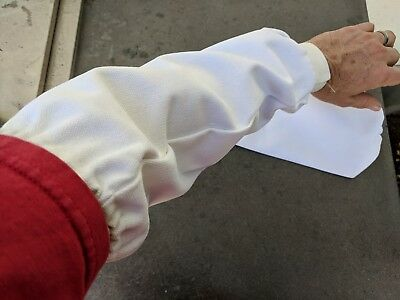 Welding Sleeves, Cotton, Flame Retardant, Protective Gear, One Pair, White