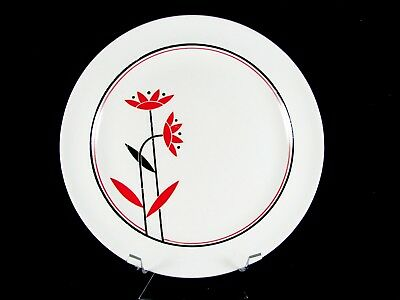 """Harker Deco Dahlia Luncheon Plate, 9-1/8"""", red daisies, ca. 1950"""
