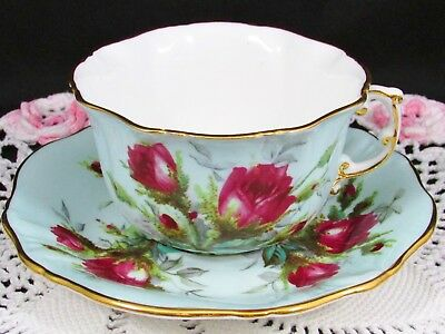 Hammersley Grandmother's Rose Blue Embossed Tea Cup & Saucer