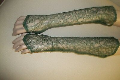 Ladies Vintage Green Lace Elbow Length Fingerless Gloves
