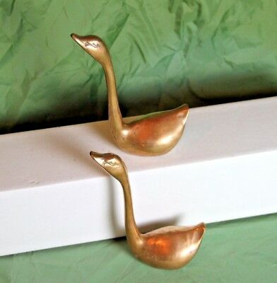 Vintage Pair of Long Necked Brass Geese