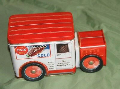 Coca Cola Delivery Truck w/t Metal Moving Wheels Collectible Tin
