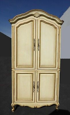 Vintage Drexel French Country Provincial Off White Armoire Cabinet w Brass