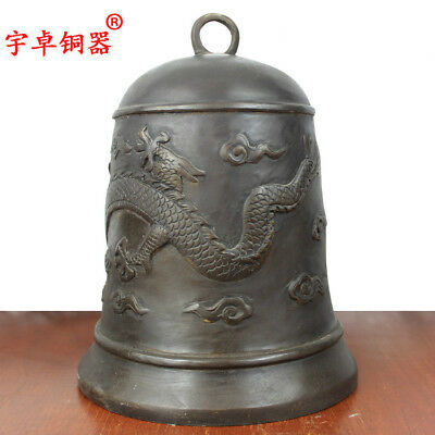 10'' China Temple Bell Carve Dragon Clouds Warning Clock Bronze Statue