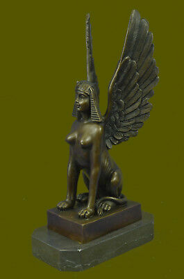 100% Genuine Real Bronze Metal Egyptian Style Sphinx Figurine Statue Decoration