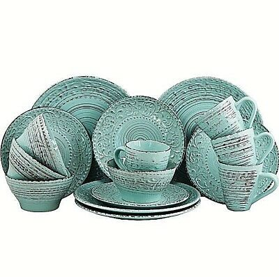 Dinnerware Set Sets Rustic Dishes 16pc Stoneware Turquoise Blue