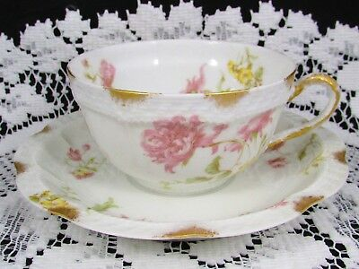 Haviland H & Co Pink Chrysanthemum Floral Embossed Tea Cup & Saucer