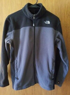 The North Face Boys Fleece Black Gray full zip Youth Large L 14/16