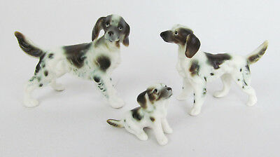 Vintage Miniature Hand-Painted Bone China Pointer Dog Family Figurine Trio Set