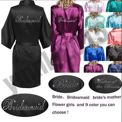 Hot Women Silk Satin Bathrobe Bridal Wedding Bride Bridesmaid Kimono Gown Robes