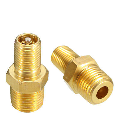 "2pcs 1/8"" NPT MPT Solid Brass Air Compressor Tank Fill Valve Plated Schrader"