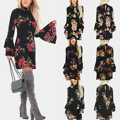AU Womens Holiday Bell Sleeve Shirt Tops Floral Ladies Summer Beach Party Dress