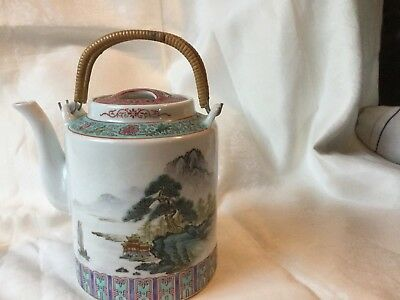 """Chinese porcelain teapot with Calligraphy - Bamboo Handles 6 1/2"""""""