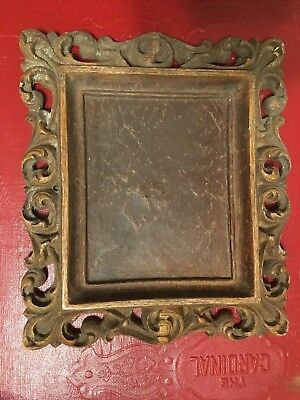 Vintage Small Dark Wood Handcarved? Tramp Art Rocco Solid 5 Inch Ornate Frame