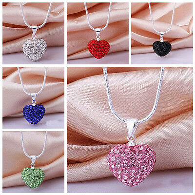 Fashion Women's Pendant Jewelry Crystal Heart Silver Plated Metal Necklace+Chain