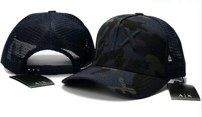 A|X - Armani Exchange - Blue Camouflage - Stitched Logo - Snapback Trucker Hat