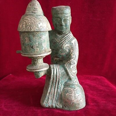antique    Chinese ancient bronze plated silver pattern lantern male servant.