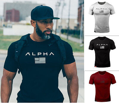 Summer mens Fashion Fitness t Shirt Gym Bodybuilding Muscle male Shortsleeve Tee