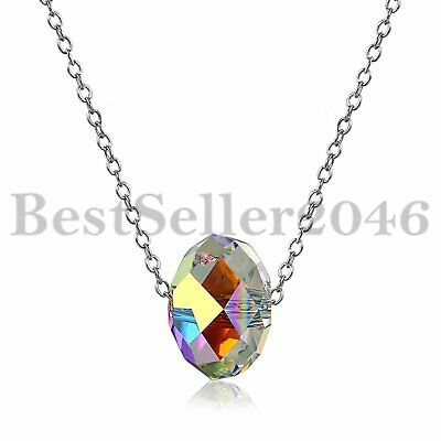 925 Silver Crystal AB Ball Necklace Made With Swarovski Elements Aurore Boreale