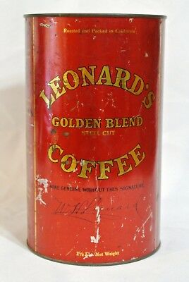 Collectible LEONARD Golden Blend Stell Cut Coffee Tin 2 1/2lb, Los Angeles Ca