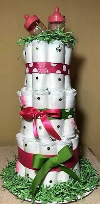 Diaper Cake Girls Hot Pink And Green