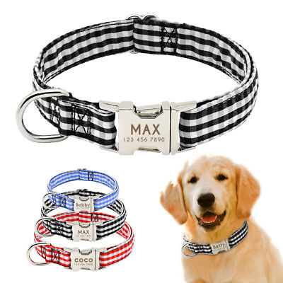 Soft Fabric Stripe Personalized Dog Collar Small Large Engraved Nameplate ID Tag