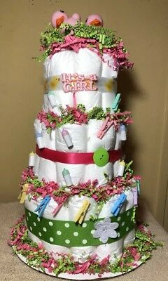 Diaper Cake Girls Pink And Green
