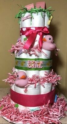 Girls Diaper Cake Pink And Hot Pink