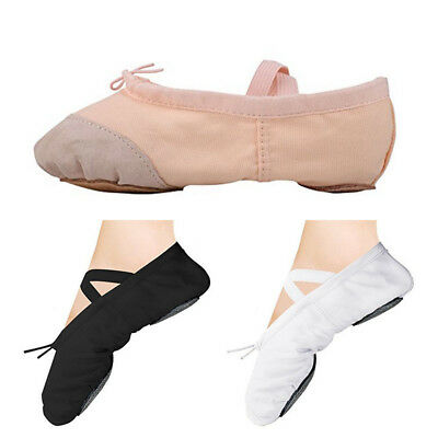 Women and Girls Ballet Canvas Dance Yoga Gymnastic Shoes with Attached Elastics
