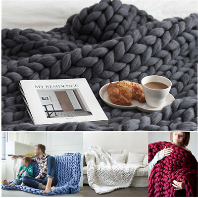 New Handmade Chunky Knit Blanket Thick Yarn Merino Throw Bed Sofa Winter/Autumn