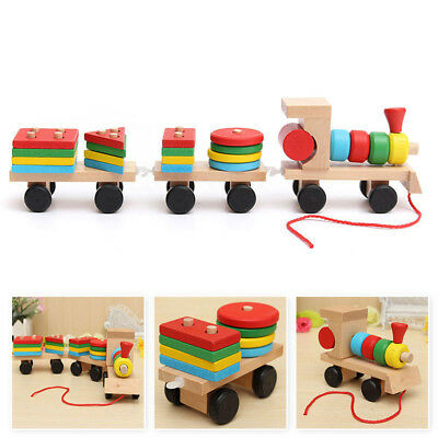 Educational Toy Wooden Train Building Block Toddler Toys for Boys Girls Learning