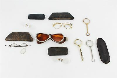8 pairs ANTIQUE GLASSES & LORGNETTES inc MOTORCYCLE GOGGLES & 5 x cases