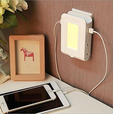 Dusk to Dawn Sensor LED Night Light & Wall Mount Multi USB Plug Outlet Charger