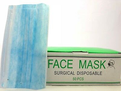 50 x Surgical Disposable Ear Loop Face Mask Dental Clinic Nail Flu Safety 3-Ply