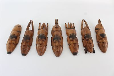 8 x VINTAGE wooden carved head statues wall mounted