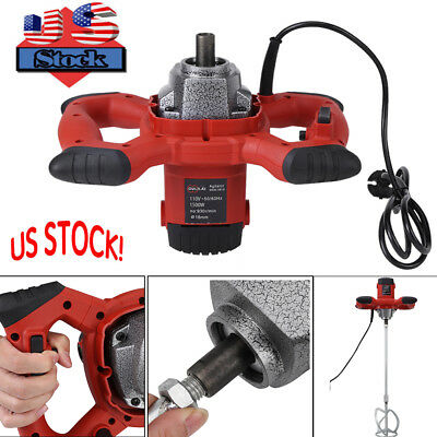 1500W Electric Mortar Mixer Dual High Low Gear 6 Speed Paint Cement Grout Red US
