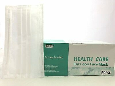 50x HealthCare Disposable 3-Ply Ear Loop Face Mask Dental Clinic Nail Flu Safety