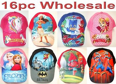 16pc Wholesale Kids PJ Masks Moana Frozen Baseball Sun Cap Hat Adjustable Mixed