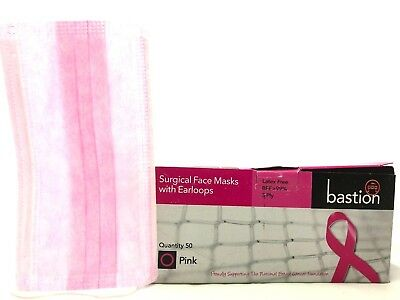 50 x Bastion Disposable 3-Ply Ear Loop Face Mask Dental Surgical Nail Flu Safety