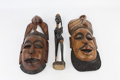 3x Carved Wooden ETHNOGRAPHIC ORNAMENT Masks & Statue - African/Asian