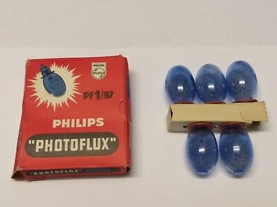 Philips Pack of 5 x New (Old Stock) Vintage PF1/97 Blue Class M Photoflux Blue