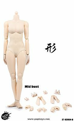 POPTOYS 92004 1:6th XING Series mid breast Flexible Pale Skin woman Body