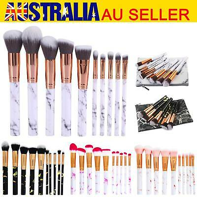 10 Kabuki Make up Brushes Set Cosmetic Foundation Face Powder Makeup Brush AU