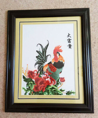 """W09B - """"The Cock"""" Chinese embroidery Painting With framed *UK STOCK*"""