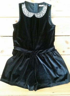 Stunning M&S black velvet playsuit with sequinned collar, 7-8 years, worn once!