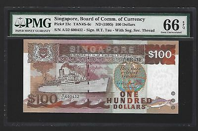 SINGAPORE PICK 23c ND(1995) 100 DOLLARS PMG 66 EPQ