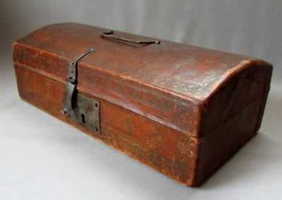 ANTIQUE 18th Century  ENGLISH Hand Tooled Leather WOODEN DOCUMENT BOX